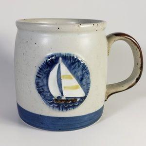 Vintage Ceramic Pottery Mug with Sailboat
